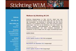 Website voor stichting WIM, weeskinderen in Mali.