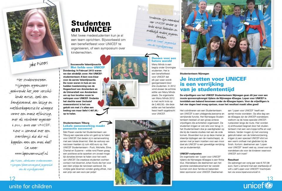 Unicef vrijwilligers magazine
