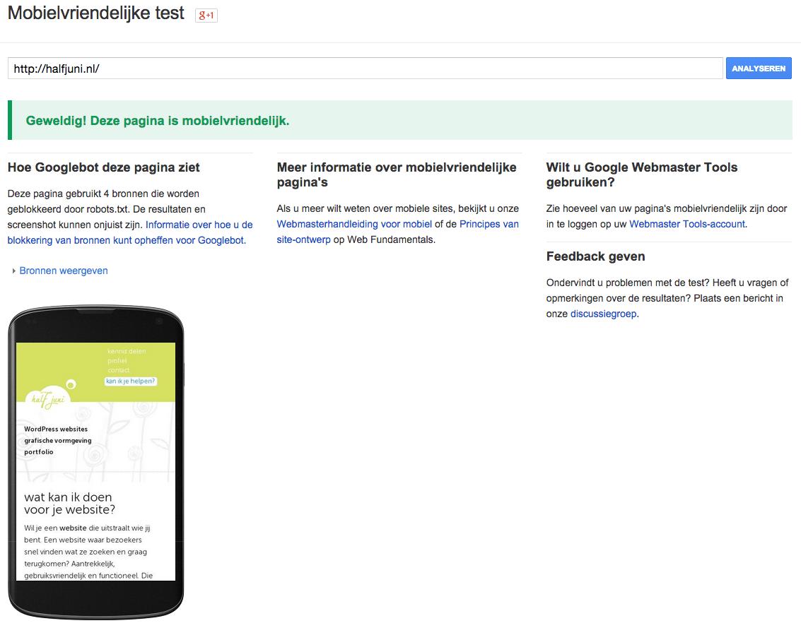 website voor mobiel