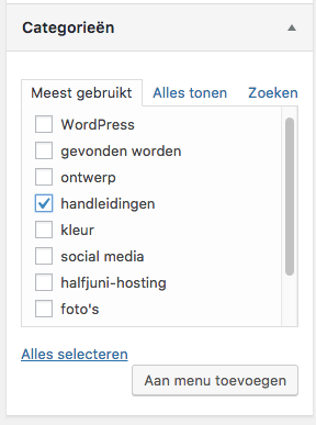 Categorie toevoegen in menu