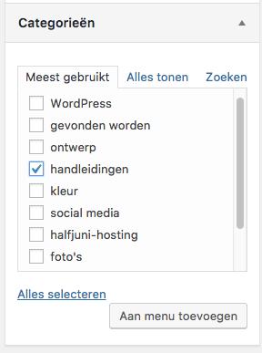 Categorie toevoegen in menu