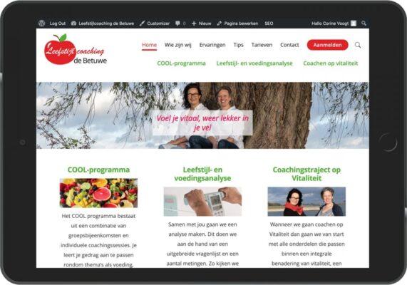 De website leefstijlcoachingdebetuwe.nl op een tablet of iPad. Een responsive website.