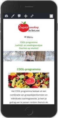 en zo ziet de website leefstijlcoachingdebetuwe.nl eruit op een telefoon. In dit geval een iPhone.