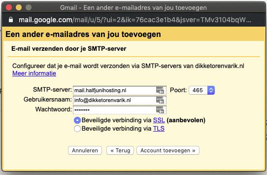 instellingen SMTP server