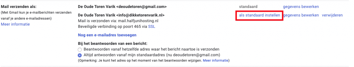 standaard mailadres wijzigen