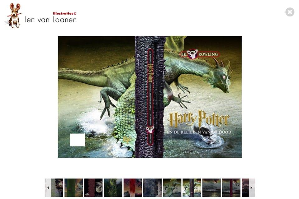 Overzicht van boekomslagen voor de Harry Potter serie, getekend door Ien van Laanen