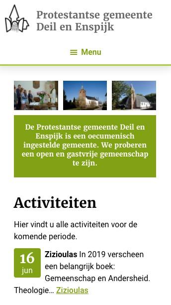 website Kerk deil en Enspijk activiteiten mobiel