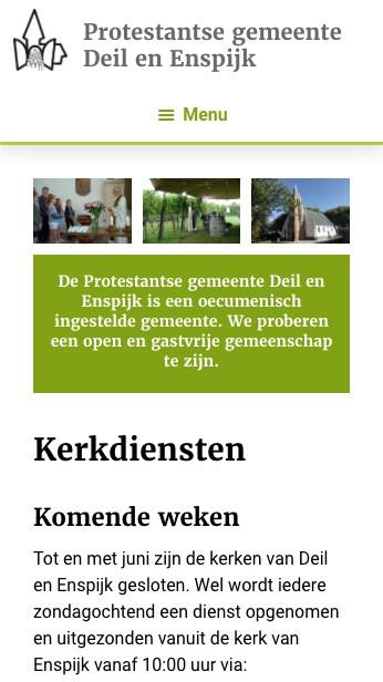 website Kerk deil en Enspijk kerkdiensten mobiel